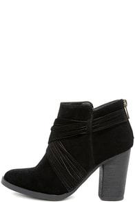 Olena Black Suede Ankle Booties