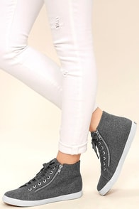 Superga 2224 POLYWOOLW Grey High-Top Sneakers Image