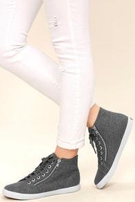 Superga 2224 POLYWOOLW Grey High-Top Sneakers