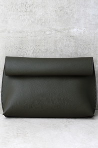 Make Me Proud Beige and Olive Green Reversible Clutch
