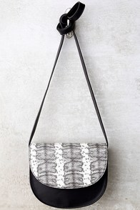 All of the Lights Black Snake Print Purse