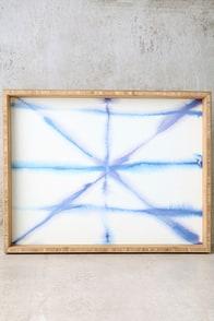 DENY Designs Light Dye White and Blue Print Decorative Tray