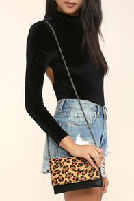 Fearless Black and Pony Fur Leopard Print Clutch