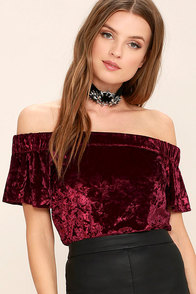 Ritual Burgundy Velvet Off-the-Shoulder Top