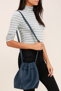 Ride West Navy Blue Bucket Bag