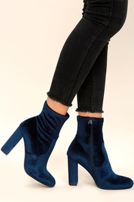 Steve Madden Edit Navy Velvet High Heel Mid-Calf Boots