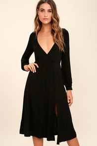 Right for Me Black Long Sleeve Midi Dress
