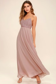 Stealing Kisses Mauve Lace Maxi Dress