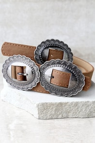 Missoula Silver and Tan Double Buckle Belt