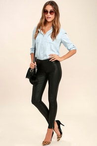 Sweet and Spicy Black Vegan Leather Leggings