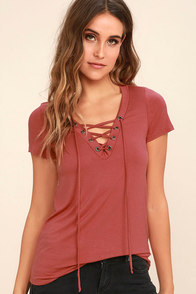 Enjoy the Ride Rusty Rose Lace-Up Top