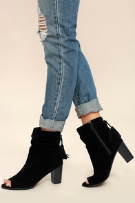 Rose Black Suede Peep-Toe Ankle Booties