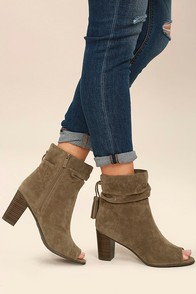 Rose Beige Suede Peep-Toe Ankle Booties