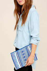 Dream Sequins Royal Blue Embroidered Clutch