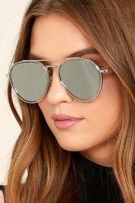 Perverse Werk Silver Mirrored Aviator Sunglasses