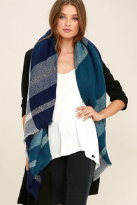 Carry On Navy Blue Plaid Scarf
