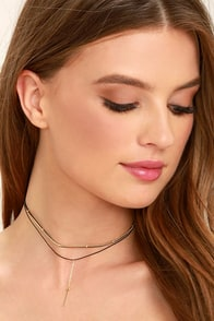 Miracles Happen Black and Gold Layered Choker Necklace