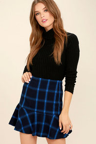 1960s Style Skirts University of Style Navy Blue Plaid Skirt $49.00 AT vintagedancer.com