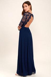 Awaken My Love Navy Blue Long Sleeve Lace Maxi Dress