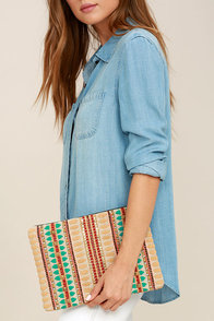 Halo Beige Embroidered Clutch