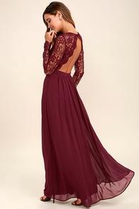 Awaken My Love Burgundy Long Sleeve Lace Maxi Dress