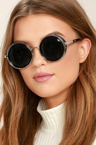 Perverse Madness Black and Silver Round Sunglasses