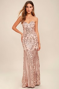 Bariano Rebecca Rose Gold Strapless Sequin Maxi Dress