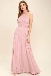 Dance of the Elements Mauve Pink Maxi Dress