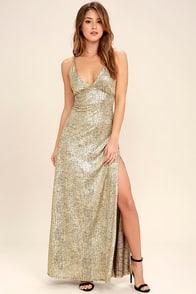 Disco Days Gold Maxi Dress