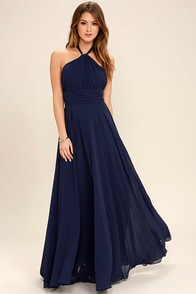 Dance of the Elements Navy Blue Maxi Dress