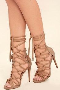 Steve Madden Dancin Blush Nubuck Leather Lace-Up Heels