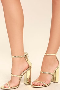 Fifi Mirror Gold Ankle Strap Heels Image