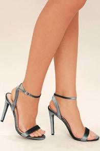 Everly Grey Velvet Ankle Strap Heels