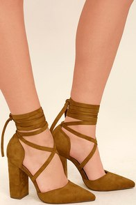 Brigitte Tan Suede Lace-Up Heels Image
