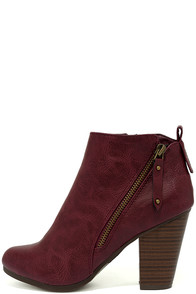 Cordelia Wine High Heel Ankle Booties