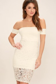 Absolutely Angelic Ivory Lace Off-the-Shoulder Dress