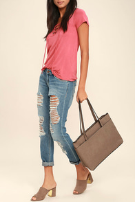 Can't Slow Down Taupe Tote