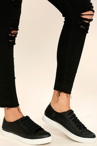 Siren Topio Black Satin Sneakers Image