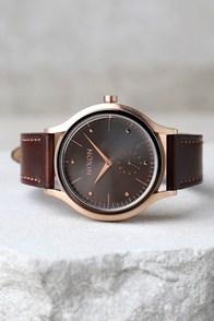 Nixon Sala Rose Gold and Burgundy Leather Watch