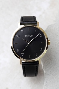 Nixon Arrow Gold and Black Leather Watch