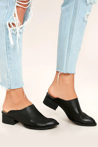 Sbicca Barrington Black Leather Mules