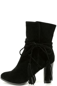 Collette Black Suede High Heel Ankle Booties