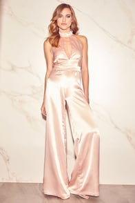 Plan for Party Champagne Satin Halter Jumpsuit