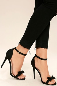 Babette Black Suede Ankle Strap Heels