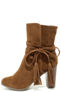 Collette Tan Suede High Heel Ankle Booties