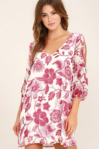 Shifting Dears Cream and Burgundy Floral Print Long Sleeve Dress