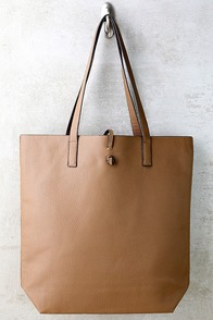 Living for the Weekend Beige and Brown Reversible Tote