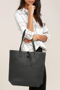 Living for the Weekend Light Grey and Charcoal Reversible Tote