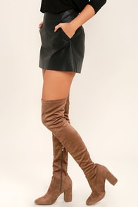 Constance Taupe Suede Over the Knee Boots