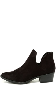 Maggie Black Suede Cutout Ankle Booties